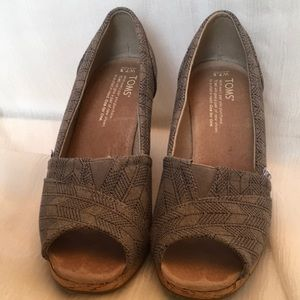 """Toms Blue and Gray Peep Toe 3.5"""" Wedge Espadrilles"""